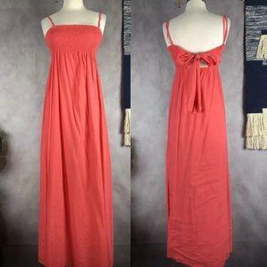 Theory Lorrita Coral Linen Summer Sun Maxi Dress